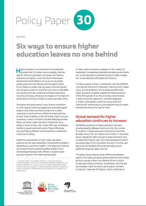 policy paper higher education GEM report and IIEP unesco
