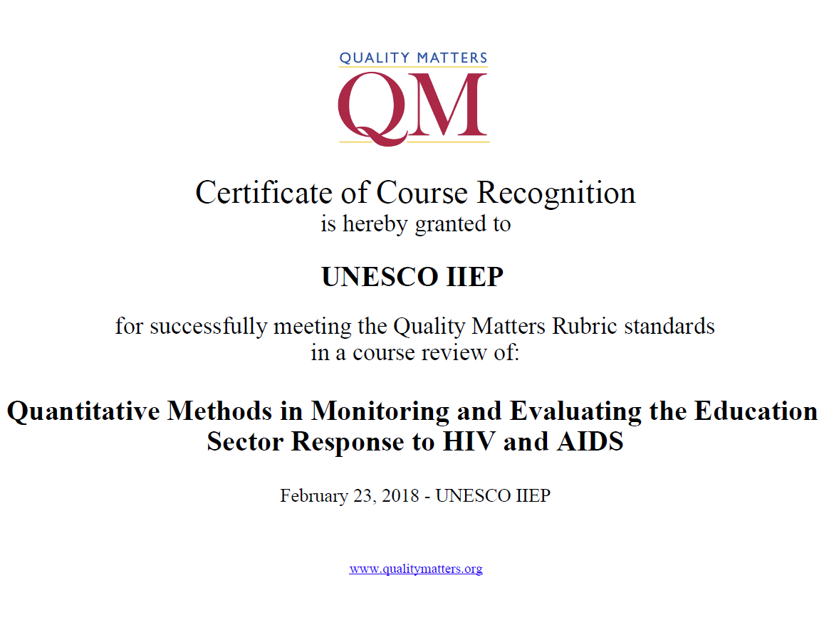 Two Iiep Courses Now Qm Certified Iipe Unesco