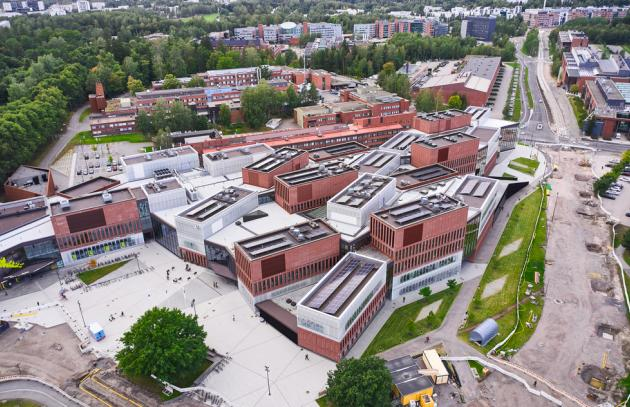 Aerial view of the brand new Aalto university campus, in Espoo, Finland.