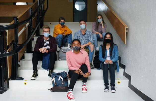 Students with masks at university