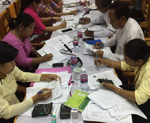 Ministry of Education officers participate in a training in Myanmar in May - June 2017.